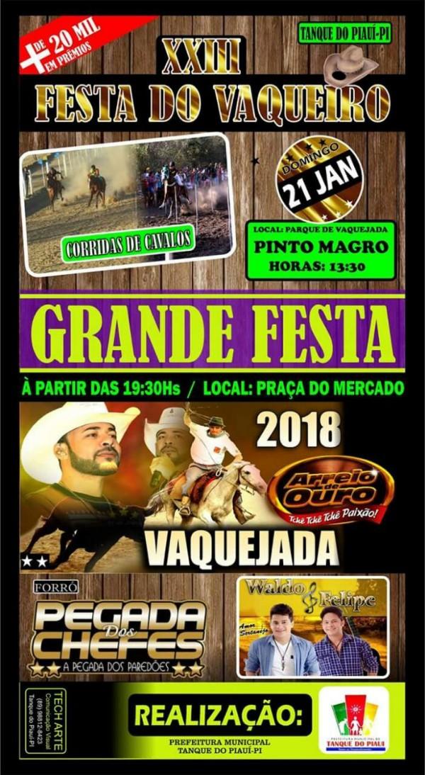 Divulgada a programação da XXIII Festa do Vaqueiro em Tanque do Piauí
