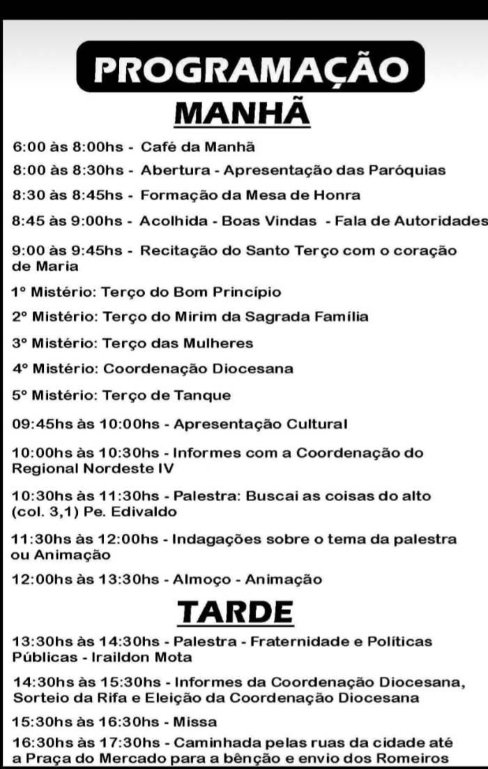 X Romaria Diocesana do Terço dos Homens será realizada em Tanque do Piauí